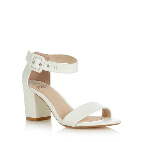 Faith - White grained mid heeled sandals