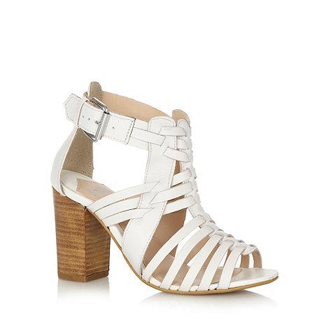 Faith - White leather multi strap high sandals