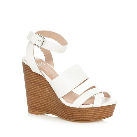 Faith - White wedge heel sandals