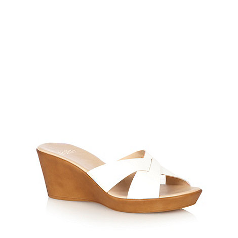 Faith - White strap mid wedge heels