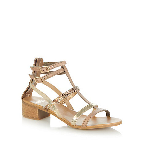 Faith - Taupe leather mixed strap mid block heel sandals