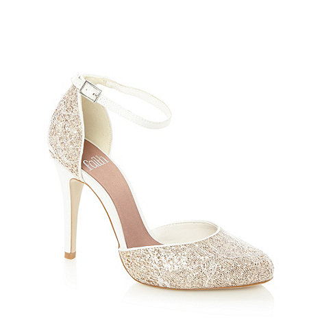 Faith - Natural glitter lace court shoes