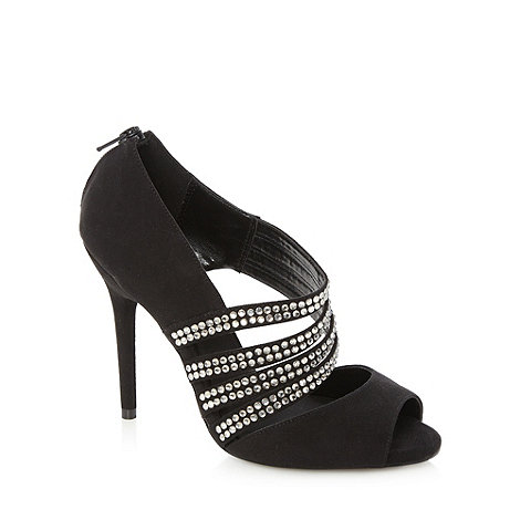 Faith - Black gem studded court shoes