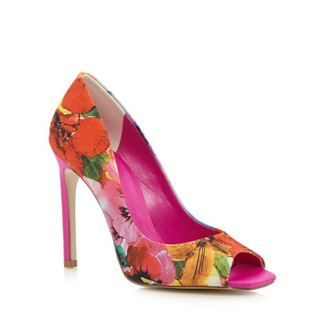 Faith - Dark pink floral square toe court shoes