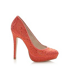 Faith - Coral rhinestone studded high court shoes