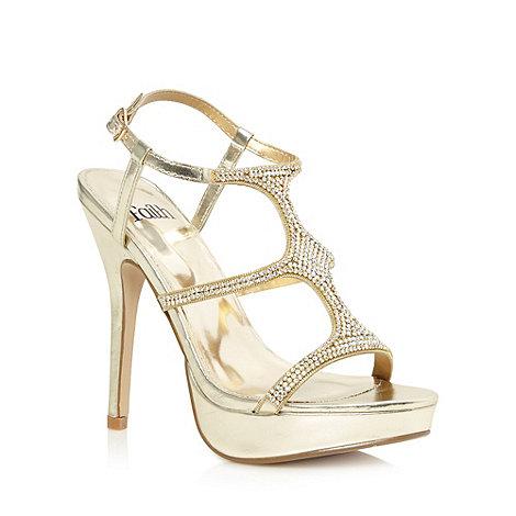 Faith - Light gold jewelled strap high heeled sandals