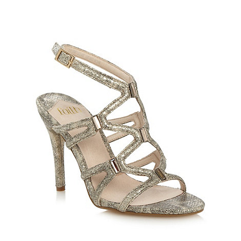 Faith - Gold metallic snake skin textured sandals