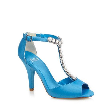 Faith - Bright blue embellished T-bar strap high sandals