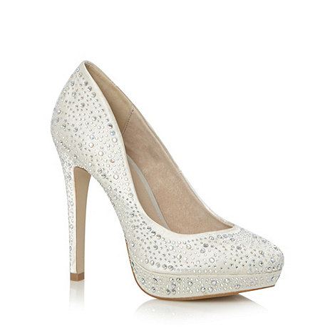 Faith - Ivory sequinned court shoes