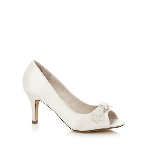 Faith - Ivory embellished bow high court shoes
