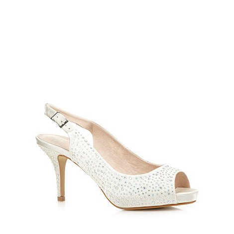 Faith - Ivory rhinestone slingback mid court shoes