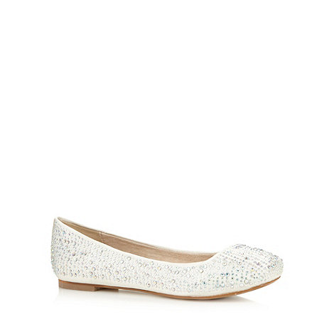 Faith - Ivory rhinestone studded pumps