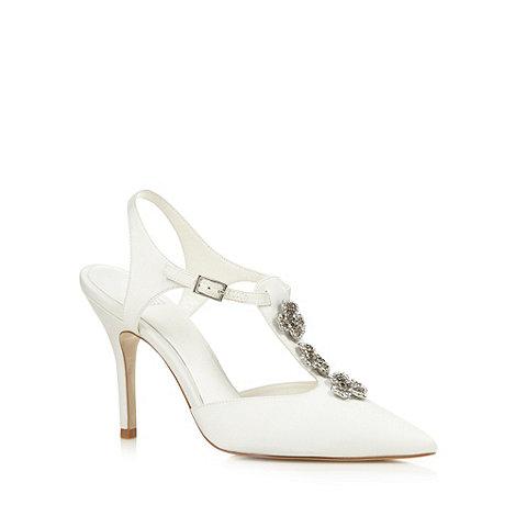 Faith - Ivory diamante flower high sandals