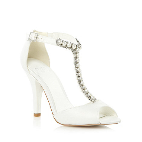 Faith - Ivory embellished T-bar high sandals