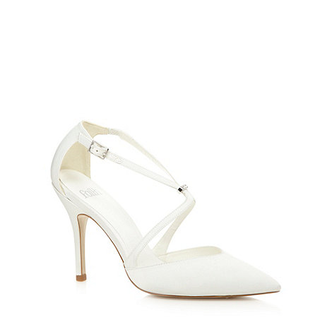 Faith - Ivory pointed diamante high court shoes