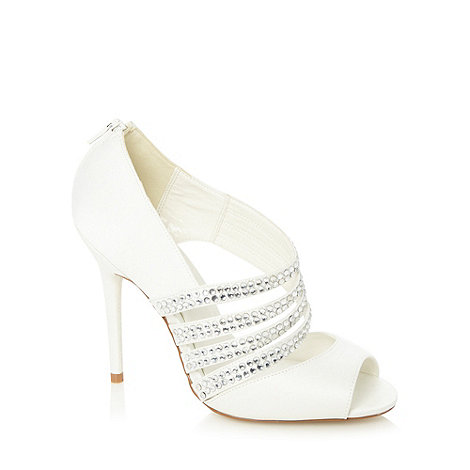 Faith - Ivory gem studded court shoes
