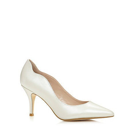 Faith - Ivory pearlised leather mid heel stiletto shoes