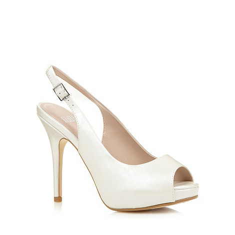 Faith - Ivory leather peep toe high court shoes