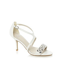 Faith - Ivory gem studded mid heel sandals
