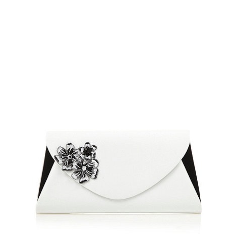 Faith - White applique flower envelope clutch bag