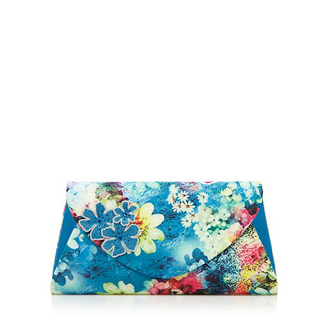 Faith - Blue graphic flower clutch bag