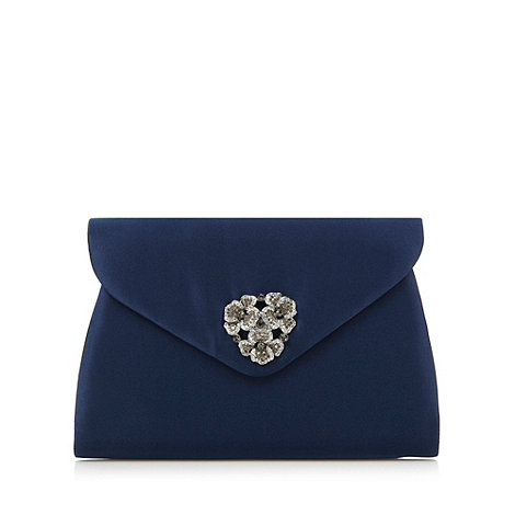 Faith - Navy pave flower clutch bag