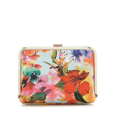 Faith - Floral printed hard case clutch bag