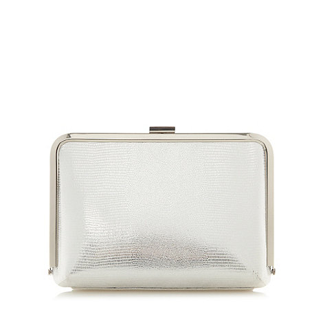 Faith - Silver mesh  hard case clutch bag