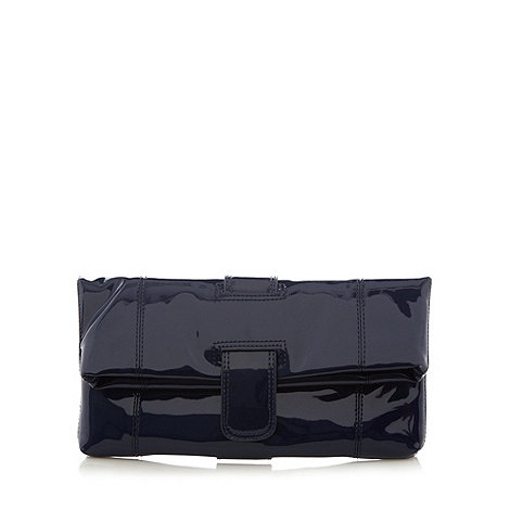 Faith - Navy patent stitch fold over clutch bag