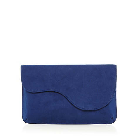 Faith - Blue suedette scalloped clutch bag