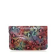 Multi coloured snakeskin design scalloped clutch bag