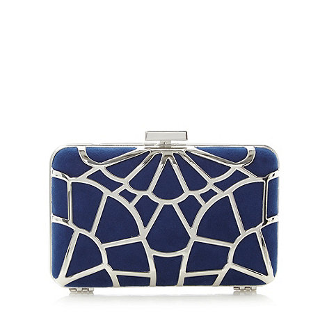Faith - Navy and metallic hard case clutch