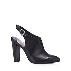 Faith - Black leather slingback high court shoes