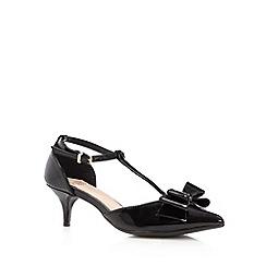 Faith - Black patent bow trim low heel court shoes