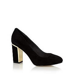 Faith - Black suede trim high court shoes