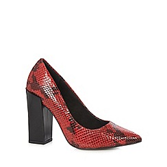 Faith - Red leather block high heel court shoes