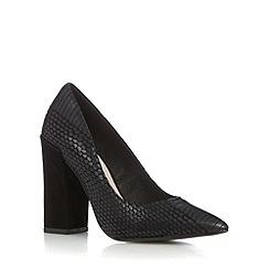 Faith - Black leather snakeskin effect high block heel court shoes