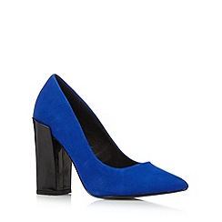 Faith - Blue leather block high heel court shoes