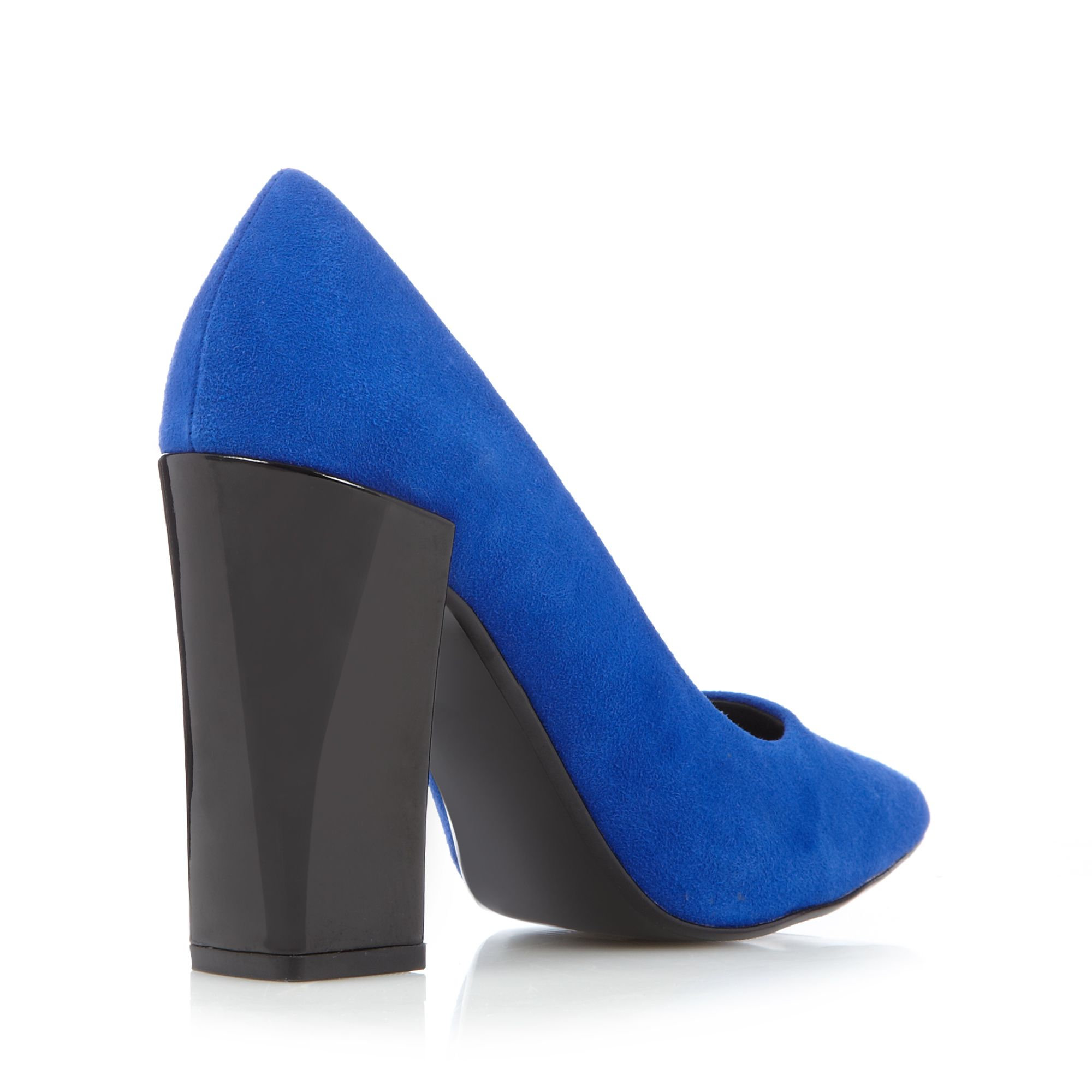 faith womens blue leather block high heel court shoes from