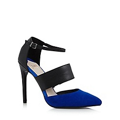 Faith - Royal blue suede two strap high court shoes