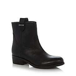 Faith - Black leather low heel ankle boots