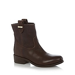 Faith - Chocolate leather low heel ankle boots