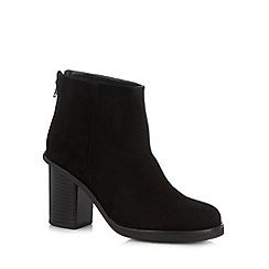 Faith - Black suede block low heeled ankle boots