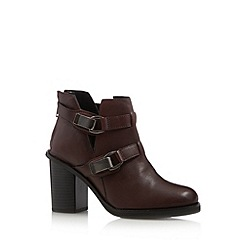 Faith - Wine leather buckled mid ankle boots