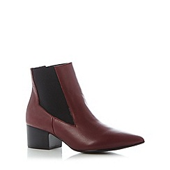 Faith - Wine leather mid heel pointed toe ankle boots