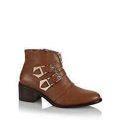 Faith - Tan leather mid ankle boots