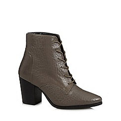 Faith - Grey leather lace up high ankle boots