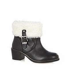 Faith - Black leather shearling trim mid ankle boots