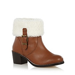 Faith - Tan leather faux fur cuff mid ankle boots