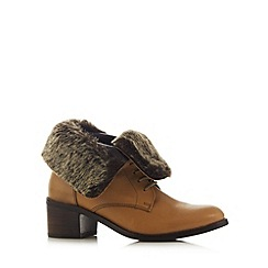 Faith - Tan leather faux fur lined mid ankle boots